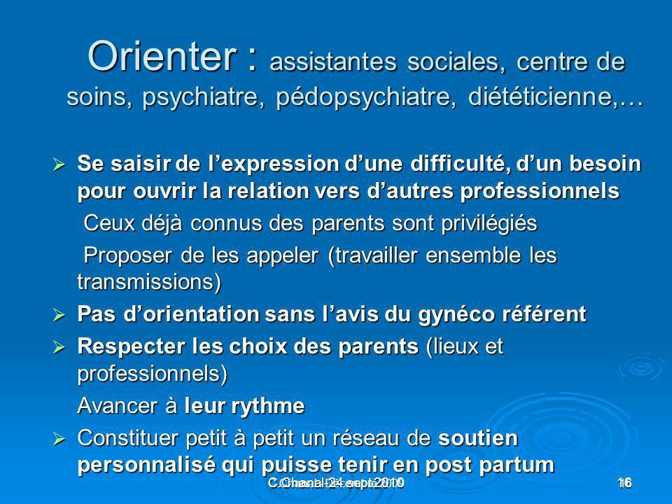 C.Chanal-24 sept 201016 C.Chanal - Décembre 200916 Orienter : assistantes sociales, centre de soins, psychiatre, pédopsychiatre, diététicienne,… Se sa