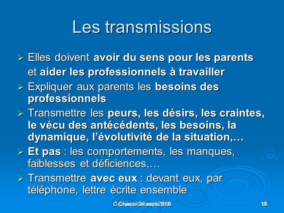 C.Chanal-24 sept 201018 C.Chanal - Décembre 200918 Les transmissions Elles doivent avoir du sens pour les parents Elles doivent avoir du sens pour les