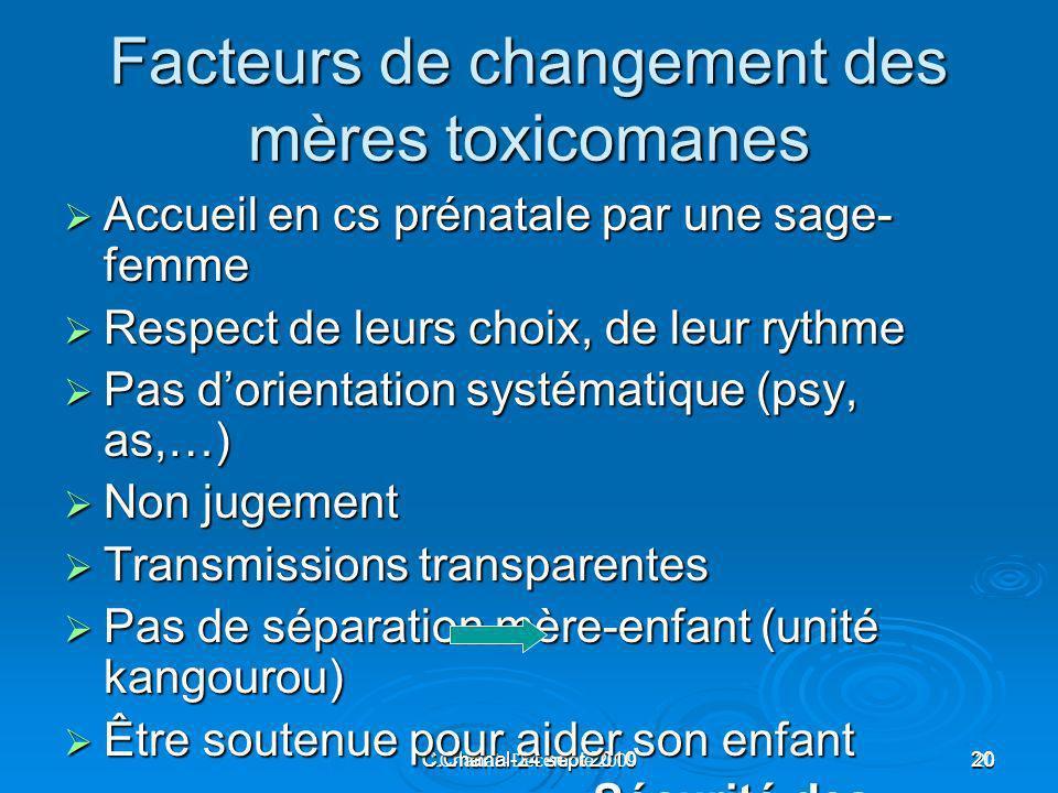 C.Chanal-24 sept 201020 C.Chanal - Décembre 200920 Facteurs de changement des mères toxicomanes Accueil en cs prénatale par une sage- femme Accueil en