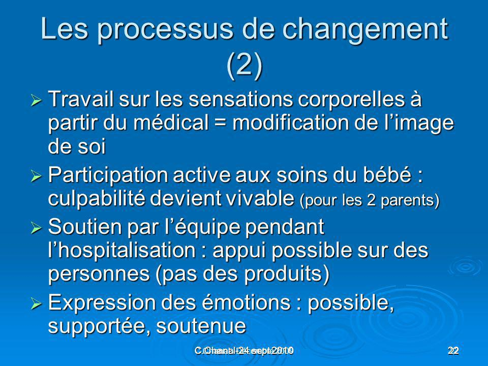 C.Chanal-24 sept 201022 C.Chanal - Décembre 200922 Les processus de changement (2) Travail sur les sensations corporelles à partir du médical = modifi