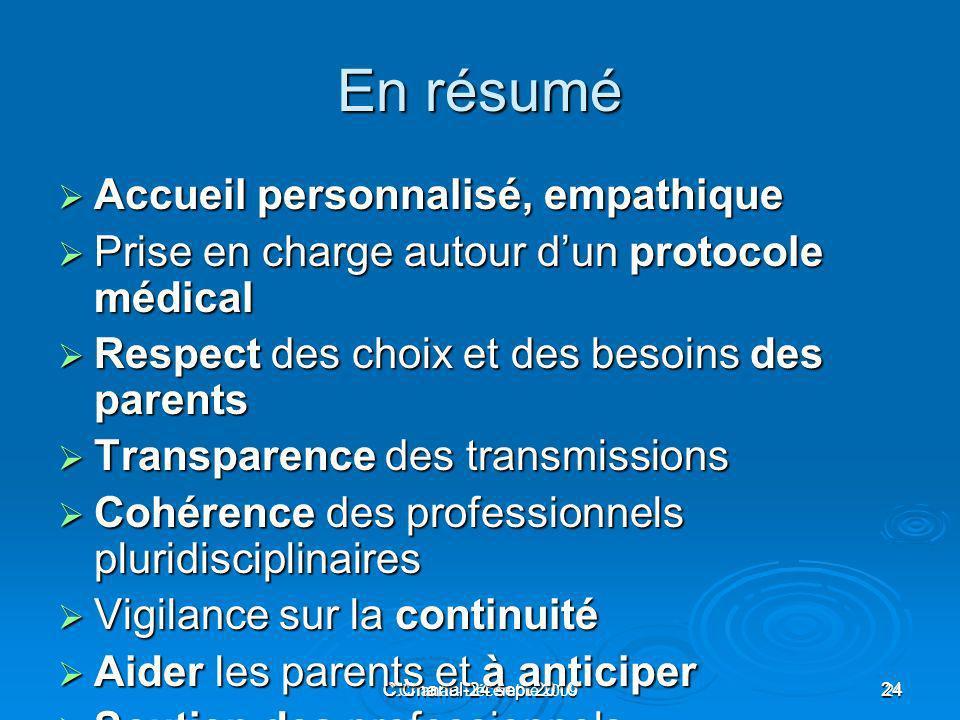 C.Chanal-24 sept 201024 C.Chanal - Décembre 200924 En résumé Accueil personnalisé, empathique Accueil personnalisé, empathique Prise en charge autour