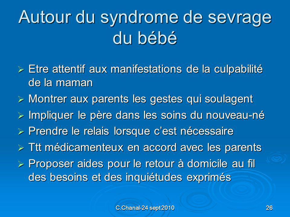 C.Chanal-24 sept 201026 Autour du syndrome de sevrage du bébé Etre attentif aux manifestations de la culpabilité de la maman Etre attentif aux manifes