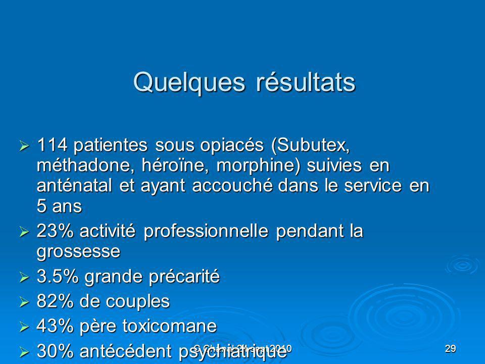 C.Chanal-24 sept 201029 Quelques résultats 114 patientes sous opiacés (Subutex, méthadone, héroïne, morphine) suivies en anténatal et ayant accouché d