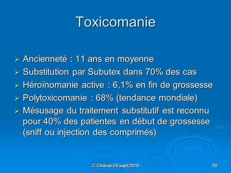 C.Chanal-24 sept 201030 Toxicomanie Ancienneté : 11 ans en moyenne Ancienneté : 11 ans en moyenne Substitution par Subutex dans 70% des cas Substituti