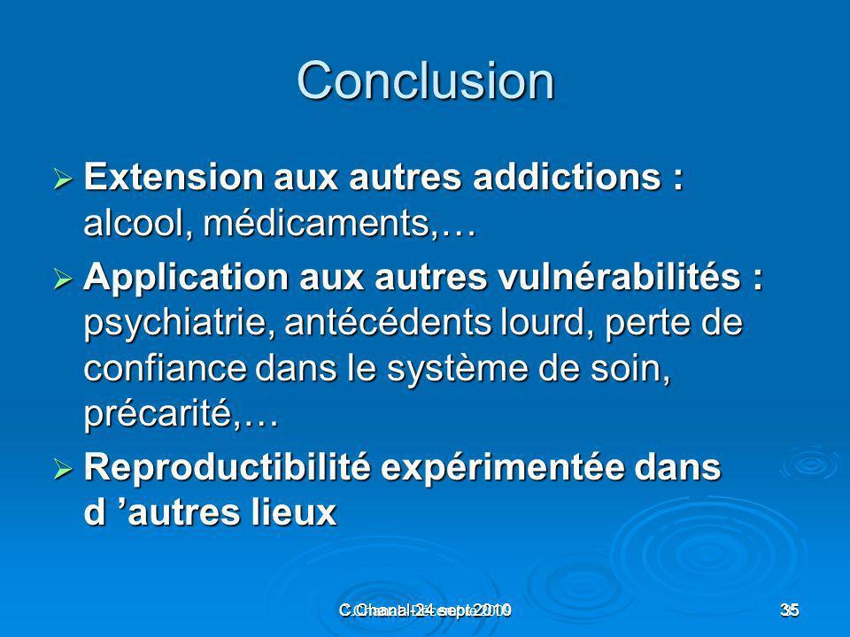 C.Chanal-24 sept 201035 C.Chanal - Décembre 200935 Conclusion Extension aux autres addictions : alcool, médicaments,… Extension aux autres addictions
