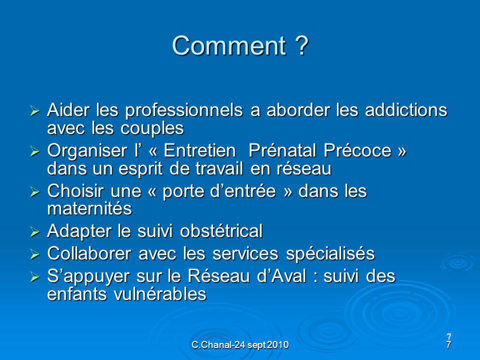 C.Chanal-24 sept 20107 7 Comment ? Aider les professionnels a aborder les addictions avec les couples Aider les professionnels a aborder les addiction