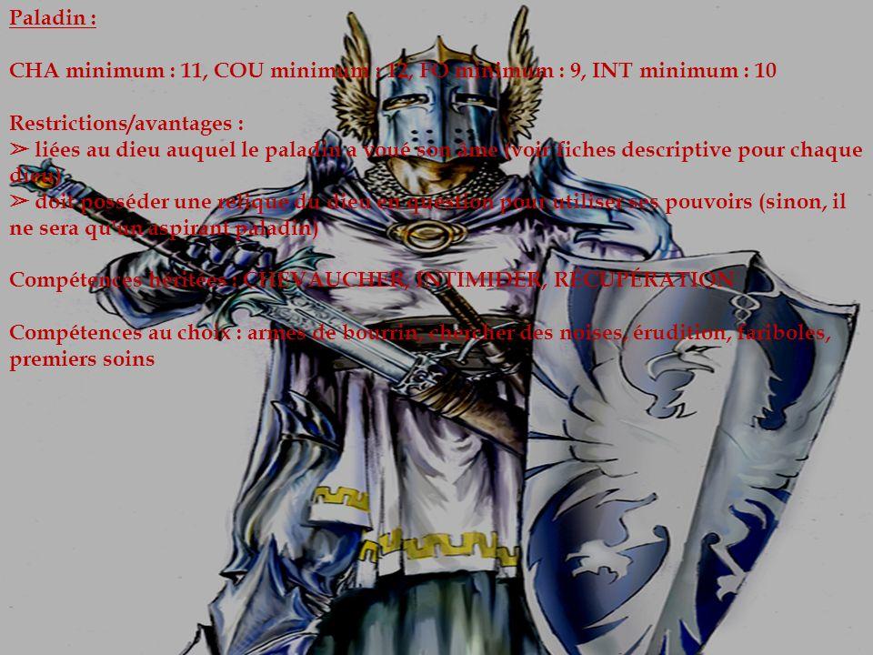 Paladin : CHA minimum : 11, COU minimum : 12, FO minimum : 9, INT minimum : 10 Restrictions/avantages : liées au dieu auquel le paladin a voué son âme (voir fiches descriptive pour chaque dieu) doit posséder une relique du dieu en question pour utiliser ses pouvoirs (sinon, il ne sera qu un aspirant paladin) Compétences héritées : CHEVAUCHER, INTIMIDER, RÉCUPÉRATION Compétences au choix : armes de bourrin, chercher des noises, érudition, fariboles, premiers soins