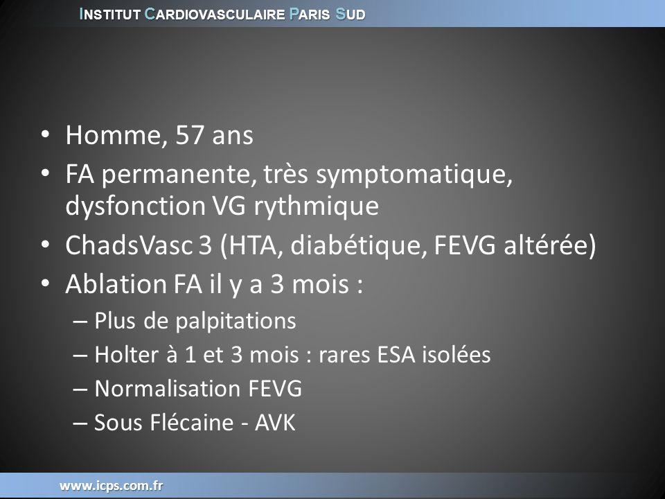 www.icps.com.fr Homme, 57 ans FA permanente, très symptomatique, dysfonction VG rythmique ChadsVasc 3 (HTA, diabétique, FEVG altérée) Ablation FA il y
