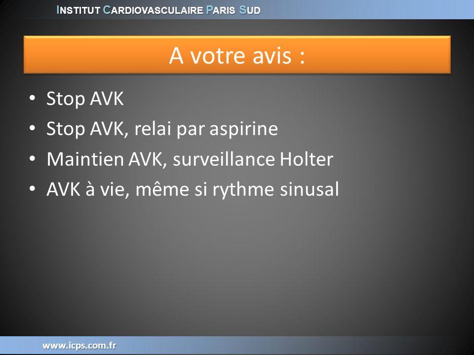 I NSTITUT C ARDIOVASCULAIRE P ARIS S UD www.icps.com.fr A votre avis : Stop AVK Stop AVK, relai par aspirine Maintien AVK, surveillance Holter AVK à v