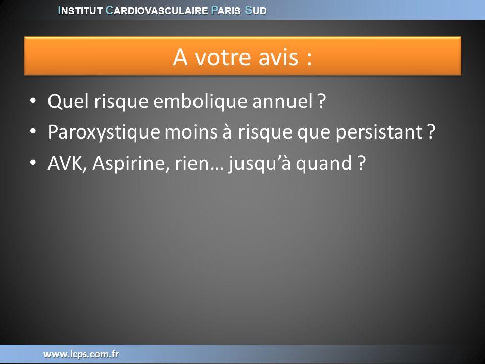 I NSTITUT C ARDIOVASCULAIRE P ARIS S UD www.icps.com.fr A votre avis : Quel risque embolique annuel ? Paroxystique moins à risque que persistant ? AVK