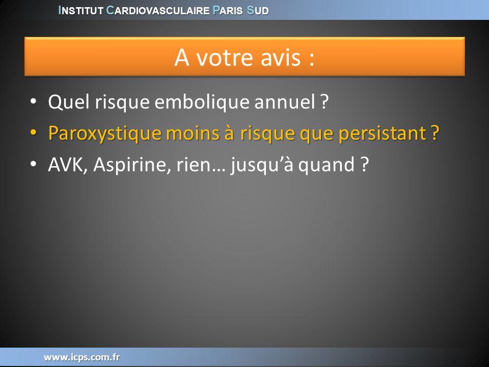 I NSTITUT C ARDIOVASCULAIRE P ARIS S UD www.icps.com.fr FA (parox ou persist) = AVC * 2 Parox avec AVK vs sans AVK = AVC / 2 FA (parox ou persist) = AVC * 2 Parox avec AVK vs sans AVK = AVC / 2 Friberg, EJH 2010;31(8):967-75