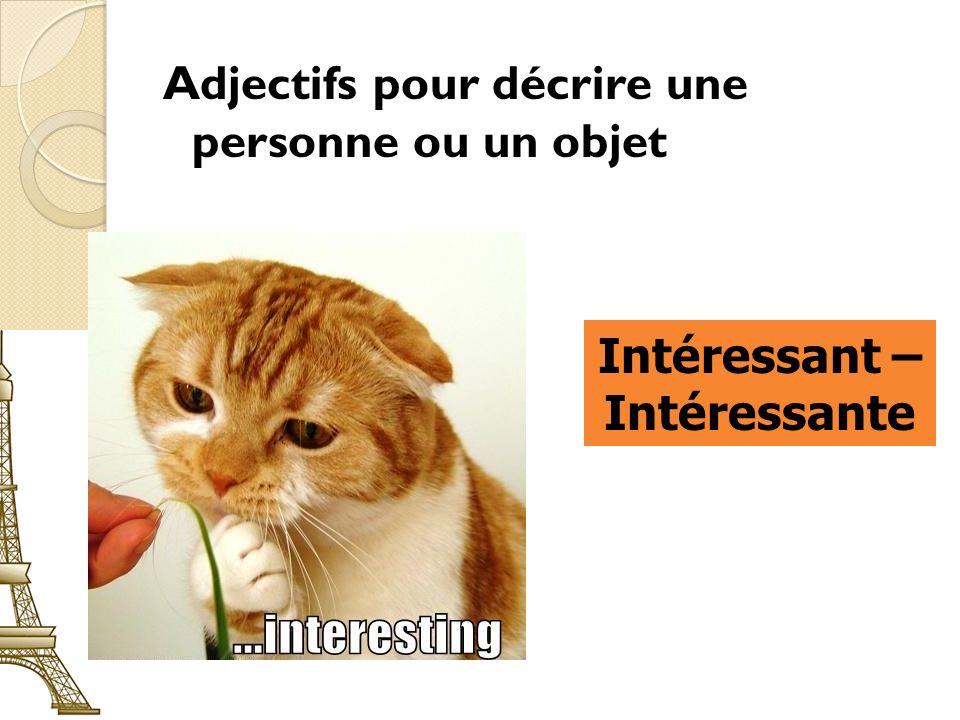 Adjectifs pour décrire une personne ou un objet Intéressant – Intéressante