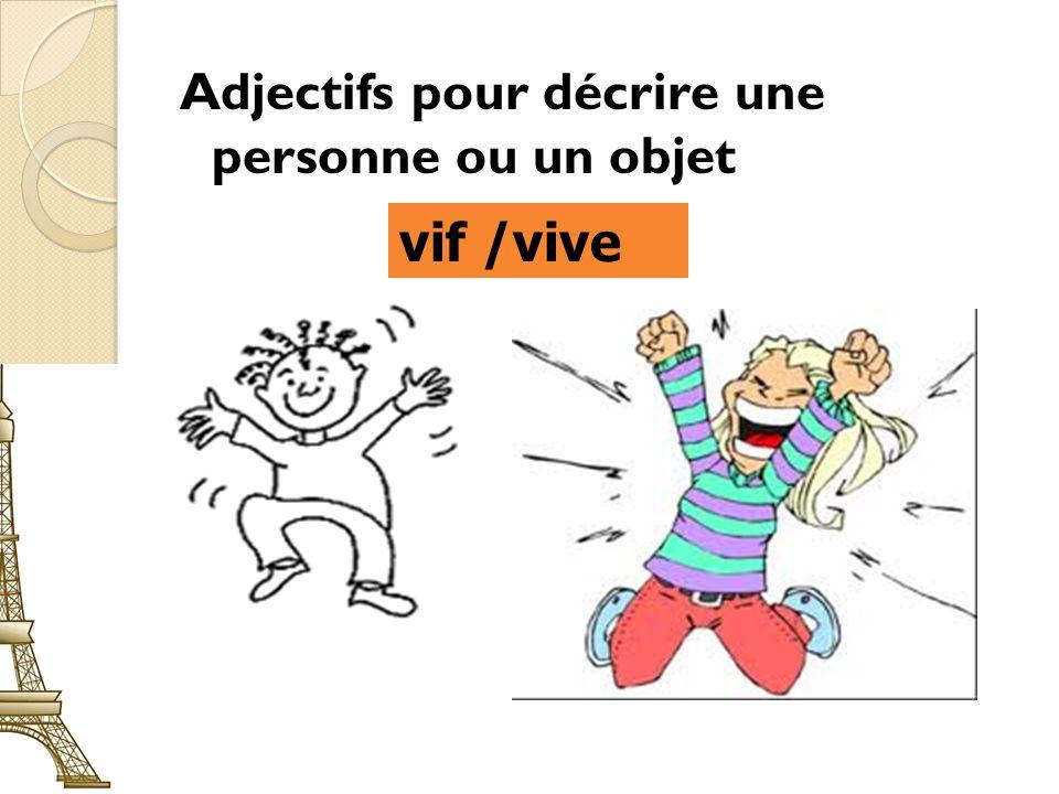 Adjectifs pour décrire une personne ou un objet vif /vive