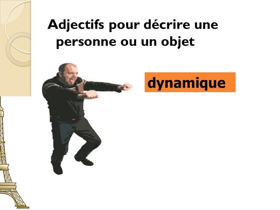 Adjectifs pour décrire une personne ou un objet dynamique