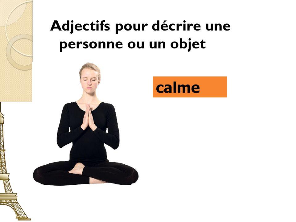 Adjectifs pour décrire une personne ou un objet calme