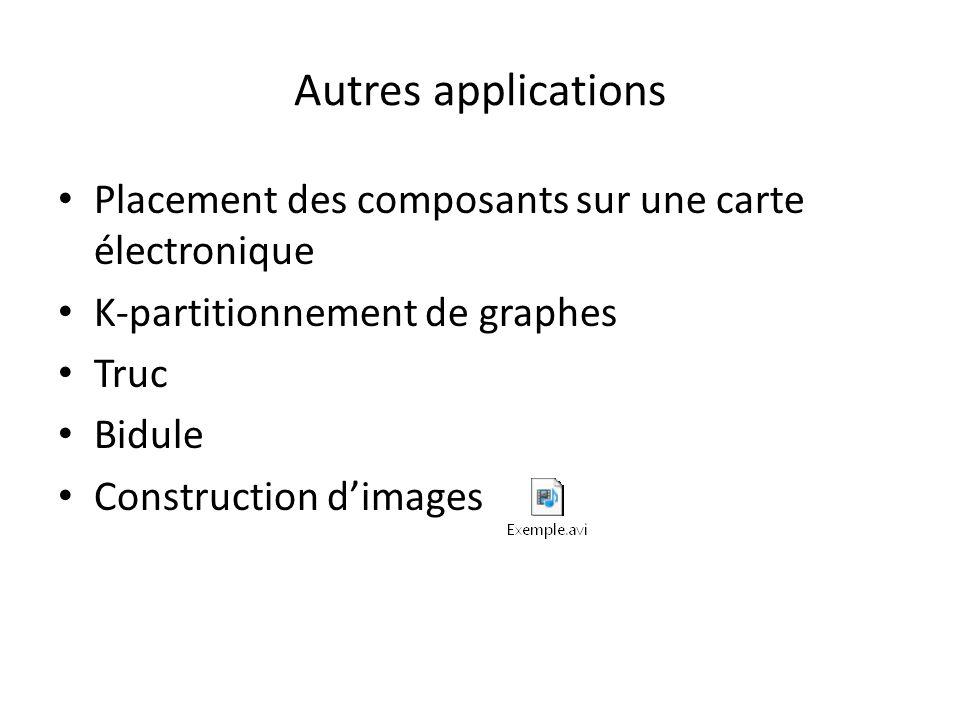 Autres applications Placement des composants sur une carte électronique K-partitionnement de graphes Truc Bidule Construction dimages