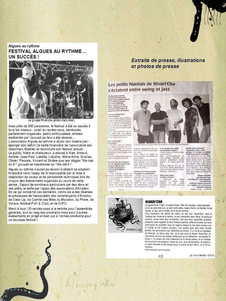Internet rivari.cha@free.fr http://www.myspace.com/rivaricha 06.74.99.40.55 (Kévin) 06.79.82.60.22 (Vincent) Contacts Partenaires : Maison de quartier de Doulon, CLAP