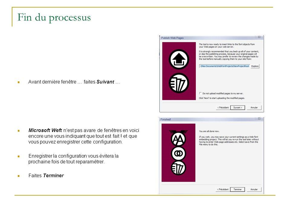 Fin du processus Avant dernière fenêtre … faites Suivant … Microsoft Weft n'est pas avare de fenêtres en voici encore une vous indiquant que tout est