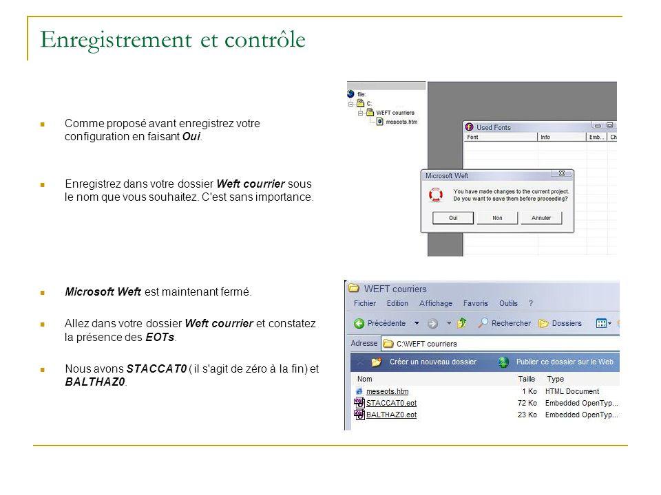 Enregistrement et contrôle Comme proposé avant enregistrez votre configuration en faisant Oui. Enregistrez dans votre dossier Weft courrier sous le no