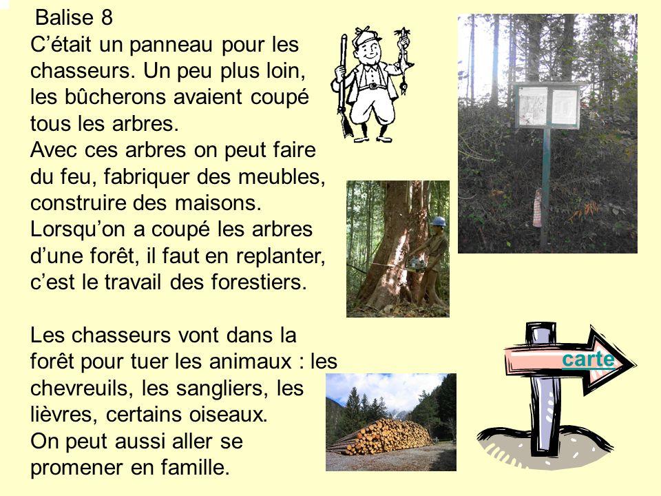 Balise 8 Cétait un panneau pour les chasseurs. Un peu plus loin, les bûcherons avaient coupé tous les arbres. Avec ces arbres on peut faire du feu, fa
