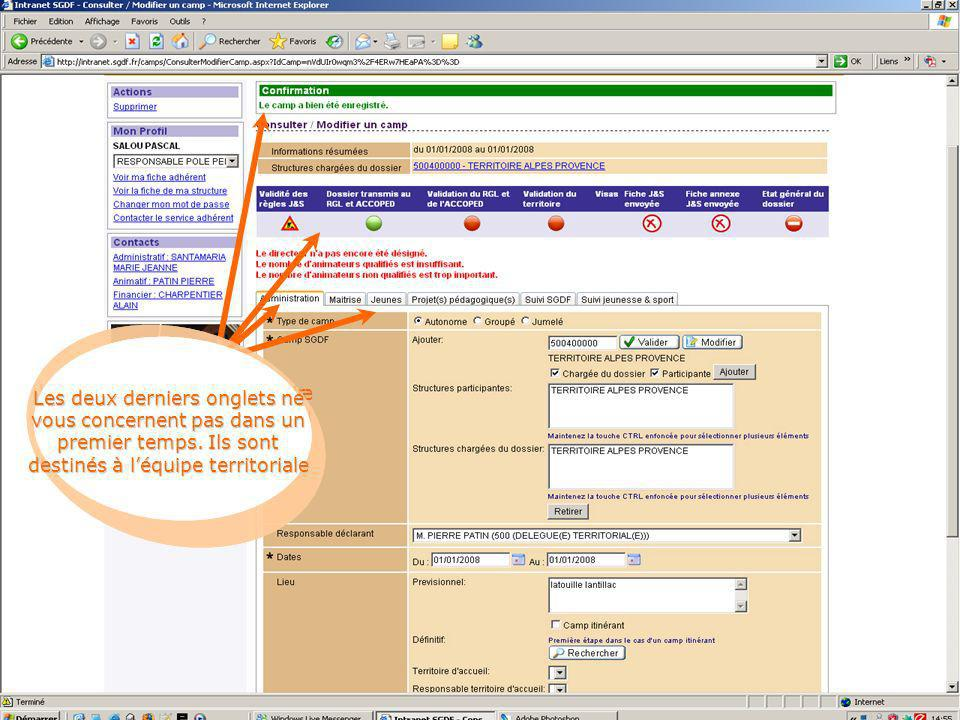 Une fois enregistré, la même page saffiche avec vos données, puis une confirmation Ce panneau permet de voir lavancée de votre projet.