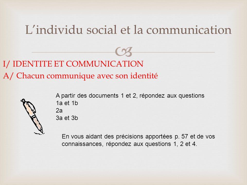 Lindividu social et la communication I/ IDENTITE ET COMMUNICATION B/ Chacun perçoit le message avec son identité Répondez aux questions 1 à 4 relatives au document 4 page 58