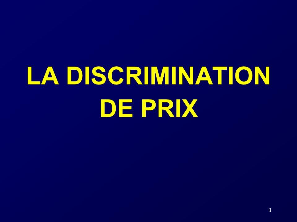 1 LA DISCRIMINATION DE PRIX