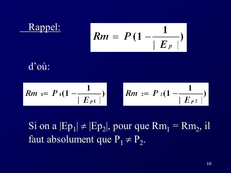 10 Rappel: doù: Si on a |Ep 1 | |Ep 2 |, pour que Rm 1 = Rm 2, il faut absolument que P 1 P 2.