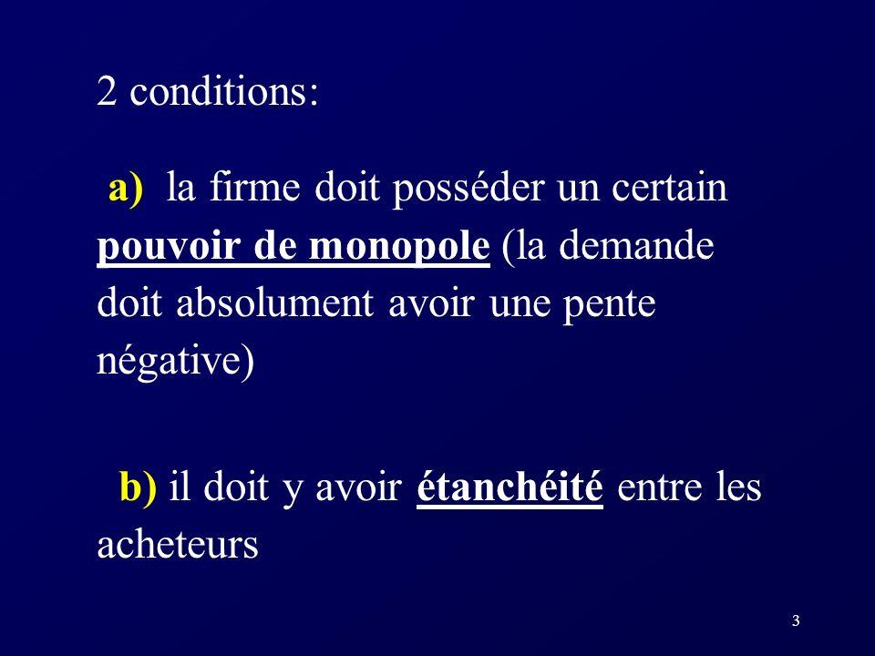 3 2 conditions: a) la firme doit posséder un certain pouvoir de monopole (la demande doit absolument avoir une pente négative) b) il doit y avoir étan