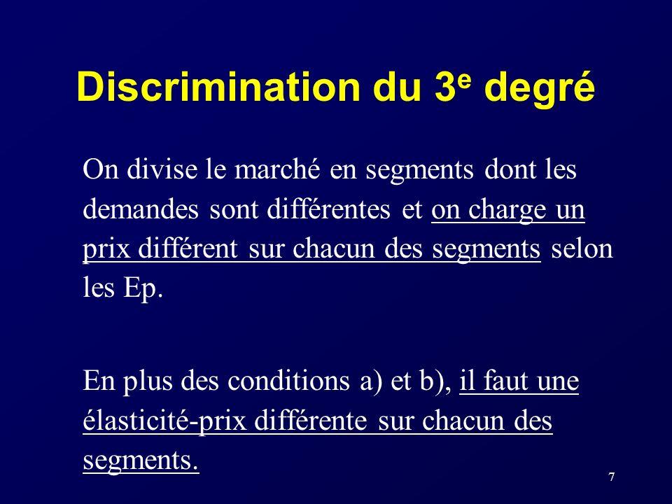7 Discrimination du 3 e degré On divise le marché en segments dont les demandes sont différentes et on charge un prix différent sur chacun des segment