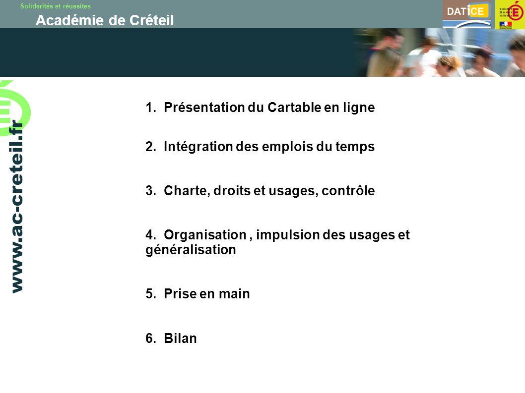 Solidarités et réussites Académie de Créteil www.ac-creteil.fr 1. Présentation du Cartable en ligne 2. Intégration des emplois du temps 3. Charte, dro