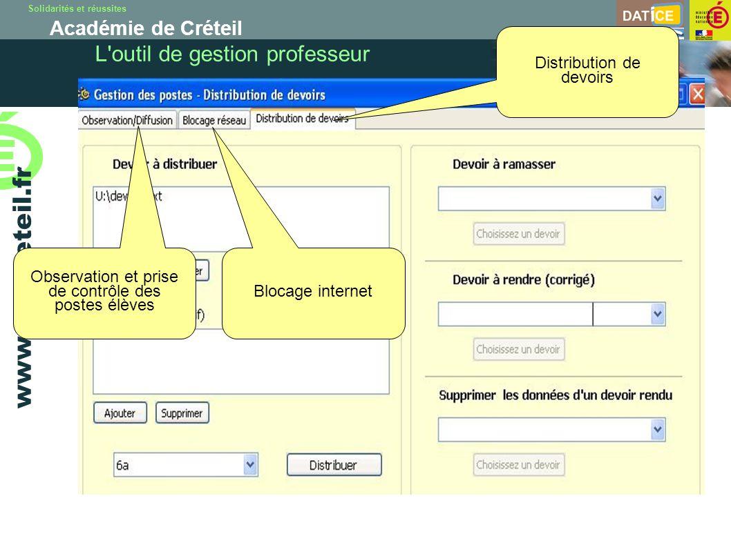 Solidarités et réussites Académie de Créteil www.ac-creteil.fr L outil de gestion professeur Observation et prise de contrôle des postes élèves Blocage internet Distribution de devoirs