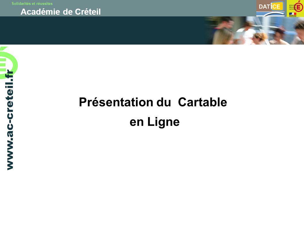 Solidarités et réussites Académie de Créteil www.ac-creteil.fr Présentation du Cartable en Ligne