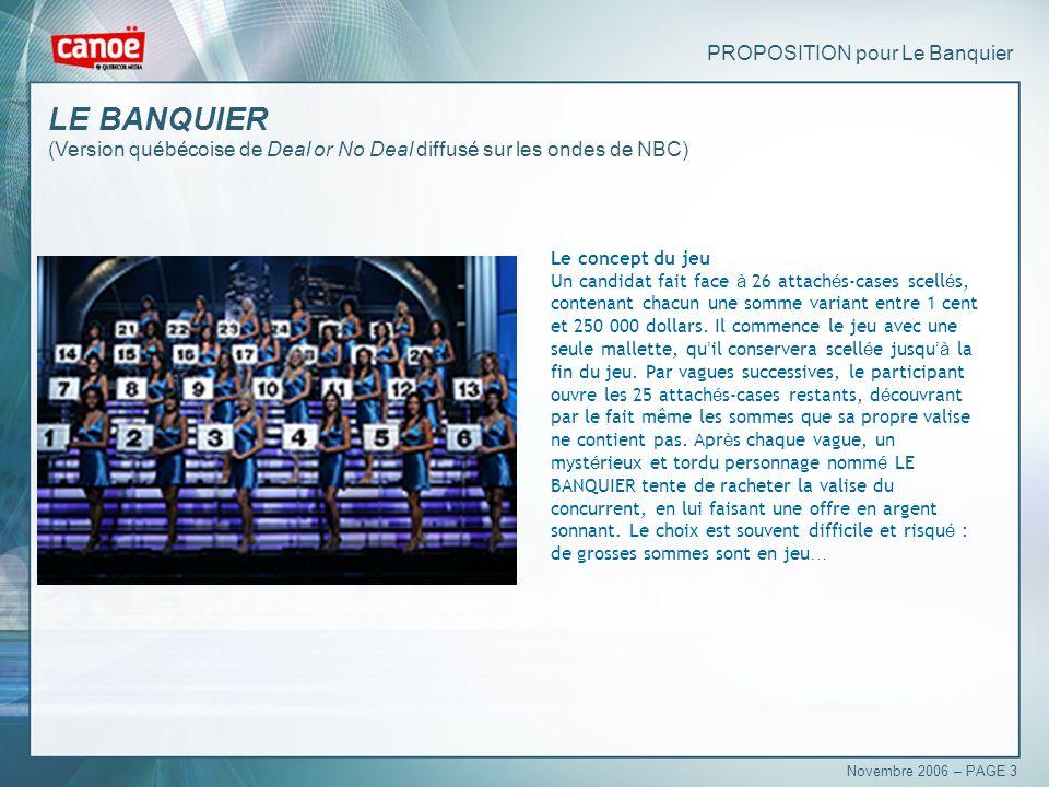 PROPOSITION pour Le Banquier Le concept du jeu Un candidat fait face à 26 attach é s-cases scell é s, contenant chacun une somme variant entre 1 cent et 250 000 dollars.
