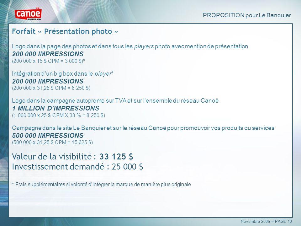 PROPOSITION pour Le Banquier Forfait « Présentation photo » Logo dans la page des photos et dans tous les players photo avec mention de présentation 200 000 IMPRESSIONS (200 000 x 15 $ CPM = 3 000 $)* Intégration dun big box dans le player* 200 000 IMPRESSIONS (200 000 x 31,25 $ CPM = 6 250 $) Logo dans la campagne autopromo sur TVA et sur lensemble du réseau Canoë 1 MILLION DIMPRESSIONS (1 000 000 x 25 $ CPM X 33 % = 8 250 $) Campagne dans le site Le Banquier et sur le réseau Canoë pour promouvoir vos produits ou services 500 000 IMPRESSIONS (500 000 x 31,25 $ CPM = 15 625 $) Valeur de la visibilité : 33 125 $ Investissement demandé : 25 000 $ * Frais supplémentaires si volonté dintégrer la marque de manière plus originale Novembre 2006 – PAGE 10