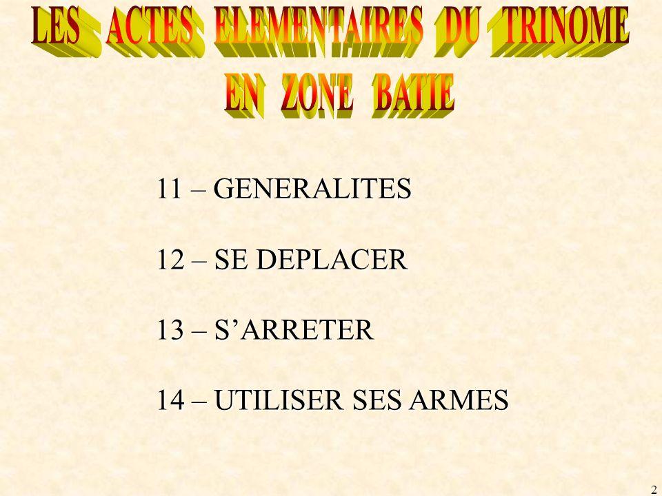 2 11 – GENERALITES 12 – SE DEPLACER 13 – SARRETER 14 – UTILISER SES ARMES