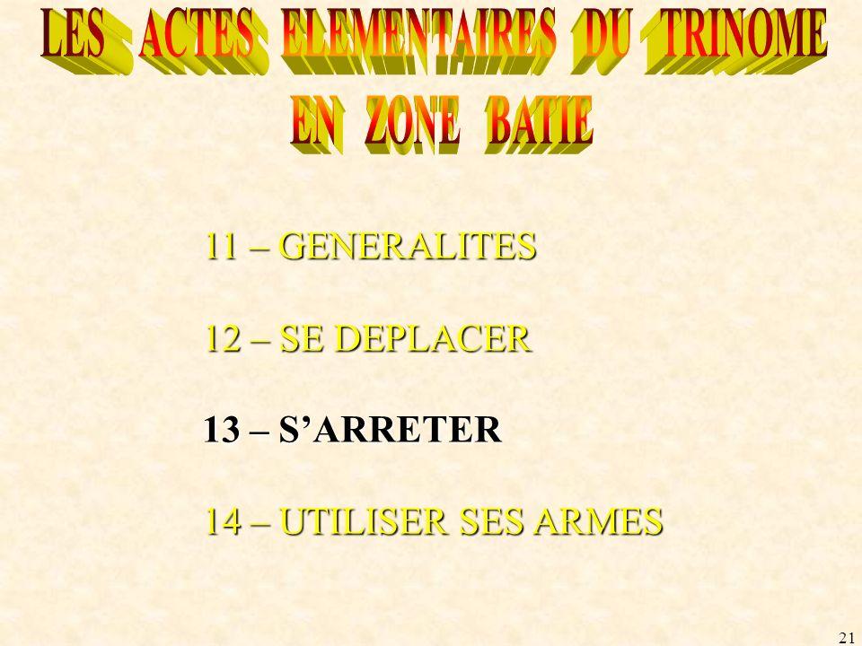 21 11 – GENERALITES 12 – SE DEPLACER 13 – SARRETER 14 – UTILISER SES ARMES