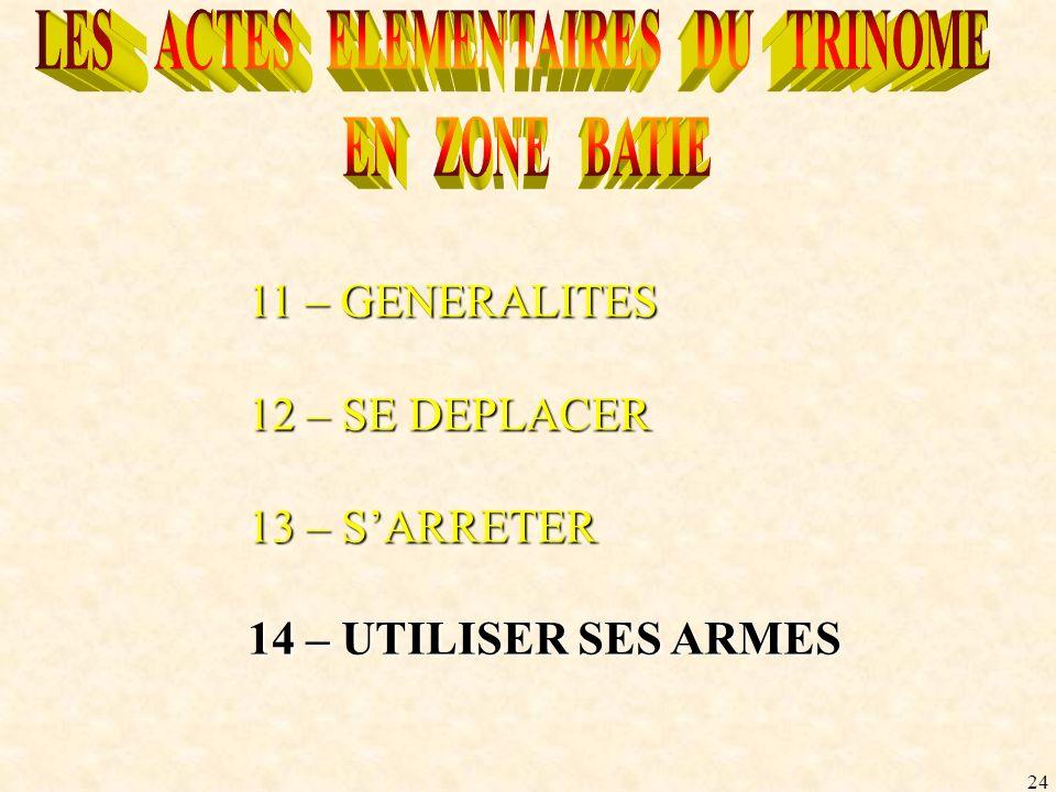 24 11 – GENERALITES 12 – SE DEPLACER 13 – SARRETER 14 – UTILISER SES ARMES