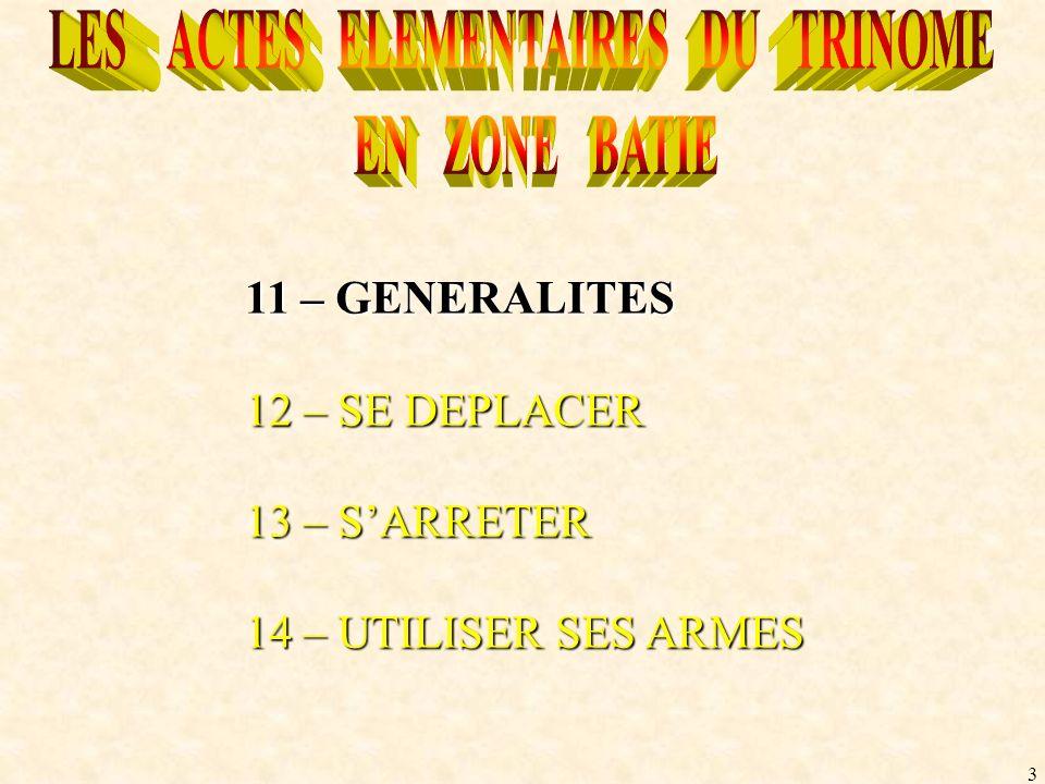 3 11 – GENERALITES 12 – SE DEPLACER 13 – SARRETER 14 – UTILISER SES ARMES