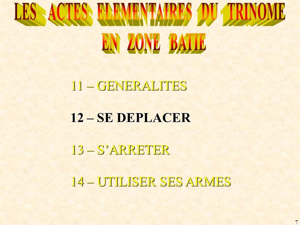 7 11 – GENERALITES 12 – SE DEPLACER 13 – SARRETER 14 – UTILISER SES ARMES