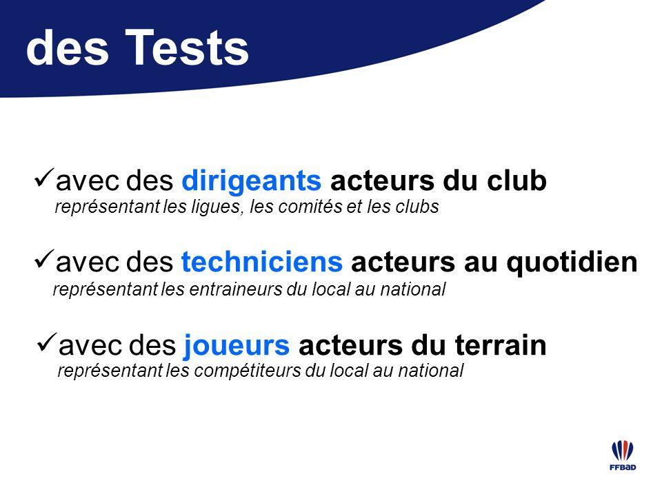 des Tests avec des dirigeants acteurs du club représentant les ligues, les comités et les clubs avec des techniciens acteurs au quotidien avec des jou