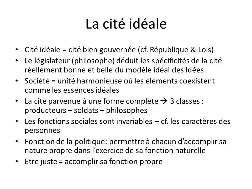La cité idéale Cité idéale = cité bien gouvernée (cf. République & Lois) Le législateur (philosophe) déduit les spécificités de la cité réellement bon