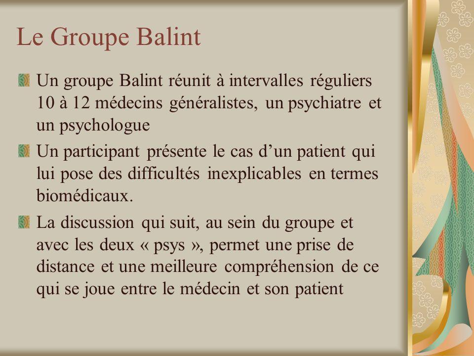 Le Groupe Balint Un groupe Balint réunit à intervalles réguliers 10 à 12 médecins généralistes, un psychiatre et un psychologue Un participant présente le cas dun patient qui lui pose des difficultés inexplicables en termes biomédicaux.