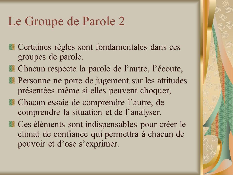 Le Groupe de Parole 2 Certaines règles sont fondamentales dans ces groupes de parole.
