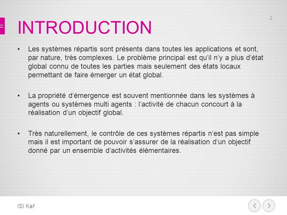 INTRODUCTION Les systèmes répartis sont présents dans toutes les applications et sont, par nature, très complexes.