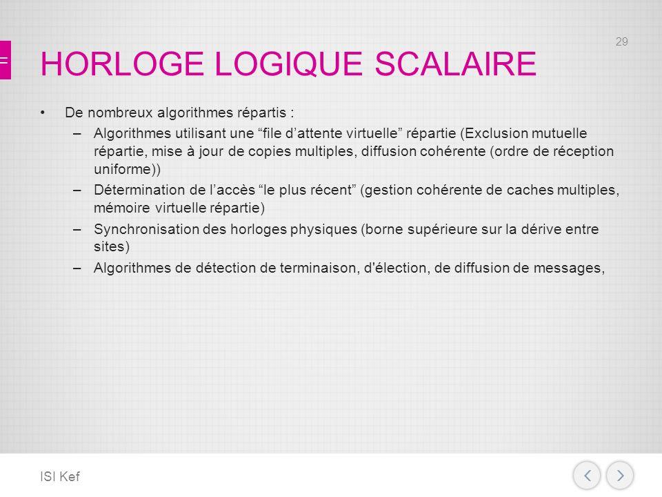 HORLOGE LOGIQUE SCALAIRE De nombreux algorithmes répartis : –Algorithmes utilisant une file dattente virtuelle répartie (Exclusion mutuelle répartie, mise à jour de copies multiples, diffusion cohérente (ordre de réception uniforme)) –Détermination de laccès le plus récent (gestion cohérente de caches multiples, mémoire virtuelle répartie) –Synchronisation des horloges physiques (borne supérieure sur la dérive entre sites) –Algorithmes de détection de terminaison, d élection, de diffusion de messages, ISI Kef 29