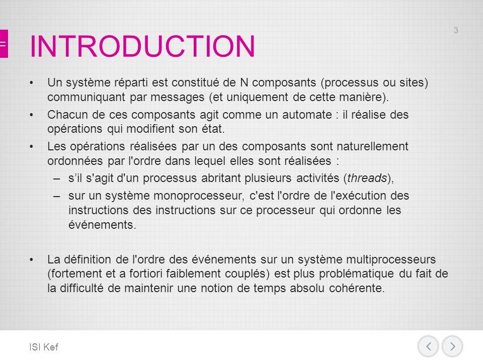 INTRODUCTION Un système réparti est constitué de N composants (processus ou sites) communiquant par messages (et uniquement de cette manière).