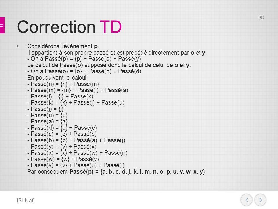 Correction TD Considérons l événement p.