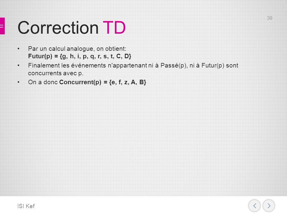 Correction TD Par un calcul analogue, on obtient: Futur(p) = {g, h, i, p, q, r, s, t, C, D} Finalement les événements n appartenant ni à Passé(p), ni à Futur(p) sont concurrents avec p.