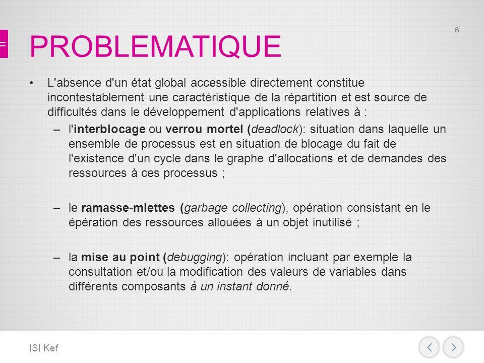 HORLOGE LOGIQUE SCALAIRE ISI Kef Cette technique permet donc d associer à chaque événement une date (estampille logique) correspondant à la valeur de l horloge de son site modifiée selon les règles que nous venons de définir.